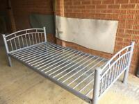 Single metal bed frame with detachable side rail