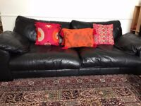 Genuine Leather Sofa With Large Swivel Chair- Black Colour