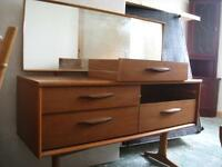 G plan style 1960's - 1970's 4 drawer teak dressing table with mirror