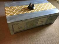 Solid Wood Eight Drawer Coffee Table