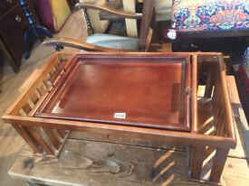 Wooden Breakfast Tray ...... tray lifts out and adjustable table below ,
