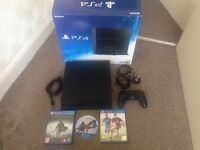 Sony ps4 black 500gb,v2 wireless controller,3 games shadow of mordor,assassin creed black flag,Fifa