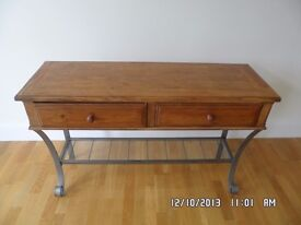 Vintage-style wood and grey metal 2 part sideboard - hallstand & matching shelf unit (étagère)
