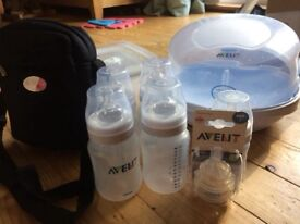 Avent Steriliser including unused bottles