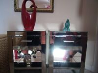 Mirror bedside tables x2, very heavy buyer must uplift