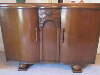 1950's Sideboard - 2 side cupboards and small middle drawer. 2 internal drawers and shelving.