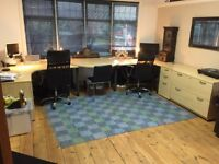 Office furniture - L shaped desks, pedestals, filing cabinet, meeting table & shelves - small office
