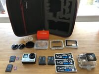GoPro Hero 4 Silver+Suction cup and Handlebar mounts+extra battery