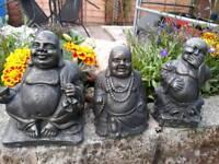 3 x Stone Buddha's.13-18 cms