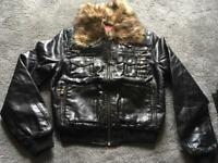 Chic & jeune ladies faux leather biker waist jacket Size 10 used V,good condition £10
