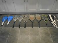 job lot of tennis and squash rackets