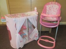 Baby Annabell Highchair & Changing Table/Wardrobe