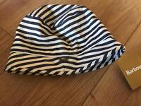 New tagged Barbour summer hat adults blue nautical stripe
