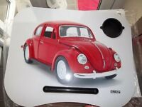 LAPTOP TRAY TABLE for you lap or in bed Dinner Tray & drink holder VW BEETLE desgin NEW/BOXED/GIFT