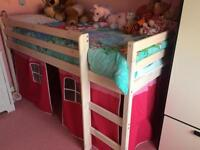 Children's cabin bed / mid sleeper / single bed with tent. Frame only.