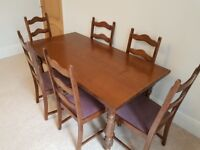 Dark Oak Dining Table & 6 matching chairs