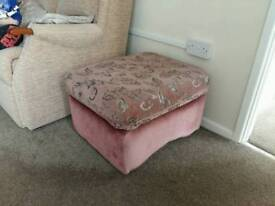 Pink floral footstool