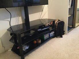3 tier black glass tv stand with bracket