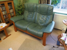 Stressless leather reclining 2-seat settee