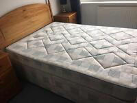 Double Bed with Pine Headboard and 2 draws