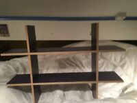 Navy blue Ikea shelving unit