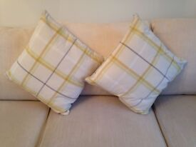 2 Summery Yellow & Grey Check Cushions from Next