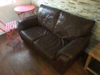 2 x matching Brown Leather couches for sale