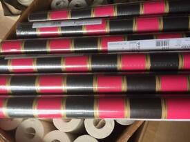 6 rolls of pink/black stripes wallpaper