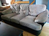 Microsuede Couch with Leather sides, front and back base