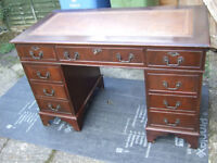 Antique reproduction mahogany pedestal desk 4ft wide brown leather