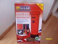 british red post box solar light for garden