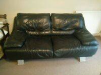 Black leather sofa - Must go by Wednesday - Free to collection