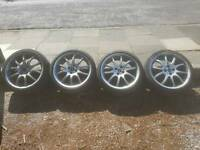 "MINI JCW 18"" DOUBLE SPOKE ALLOY WHEELS TYRES"