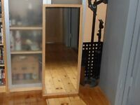 Lightweight IKEA style mirror with lightwood frame approx 3' tall