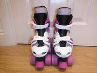 Osprey Girls Quad Roller Boots/Skates Children's Size 10-12 Purple & White Colour