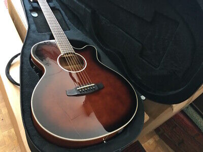 PERFECT ELECTRO ACOUSTIC FOLK GUITAR, GLOSS WHISKY FINISH & CASE RRP ABOUT £430