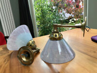 Vintage Christopher Wray brass wall lights.