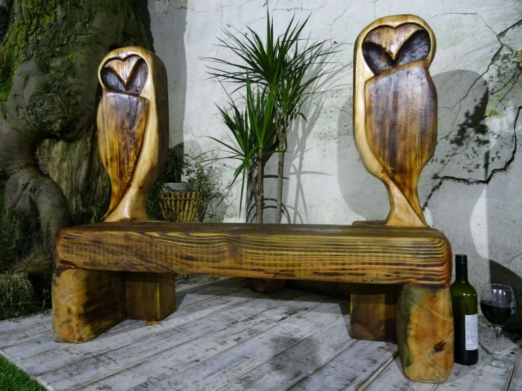 Rustic wooden owl garden bench chainsaw carved in stoke on