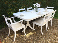 Stunning Shabby Chic Painted Extending Vintage Dining Table 6 Chairs