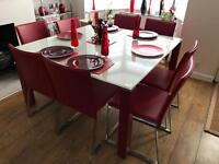 Stunning Square Glass dinning table with leather chair