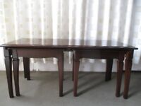 STAG FURNITURE MAHOGANY SET OF THREE TABLES COFFEE TABLE WITH TWO SIDE TABLES