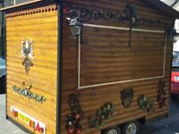 catering trailer wood and cast-iron design