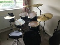Map ex 5 piece kit with cymbals, stands, stool and bass drum pedal.
