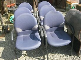 6 X MODERN BLUE UPHOLSTERED CHAIRS. VERY STURDY. ALL MATCHING. VIEWING/DELIVERY AVAILABLE