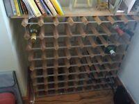 72 bottle wood and metal wine rack