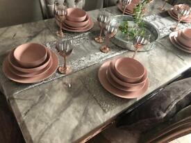 Stunning grey marble dining table