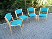 4 Solid Beech Framed Reception Chairs