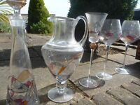 Beautiful Vintage Hand blown wine and champagne glasses with carafe