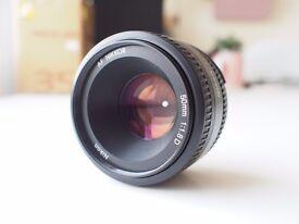 Nikon AF Nikkor 50mm F.1.8 Prime Lens