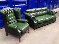 🎉🔥SALE!! Genuine antique vintage chesterfield 2 piece suite IMMACULATE! Green leather sofa & chair
